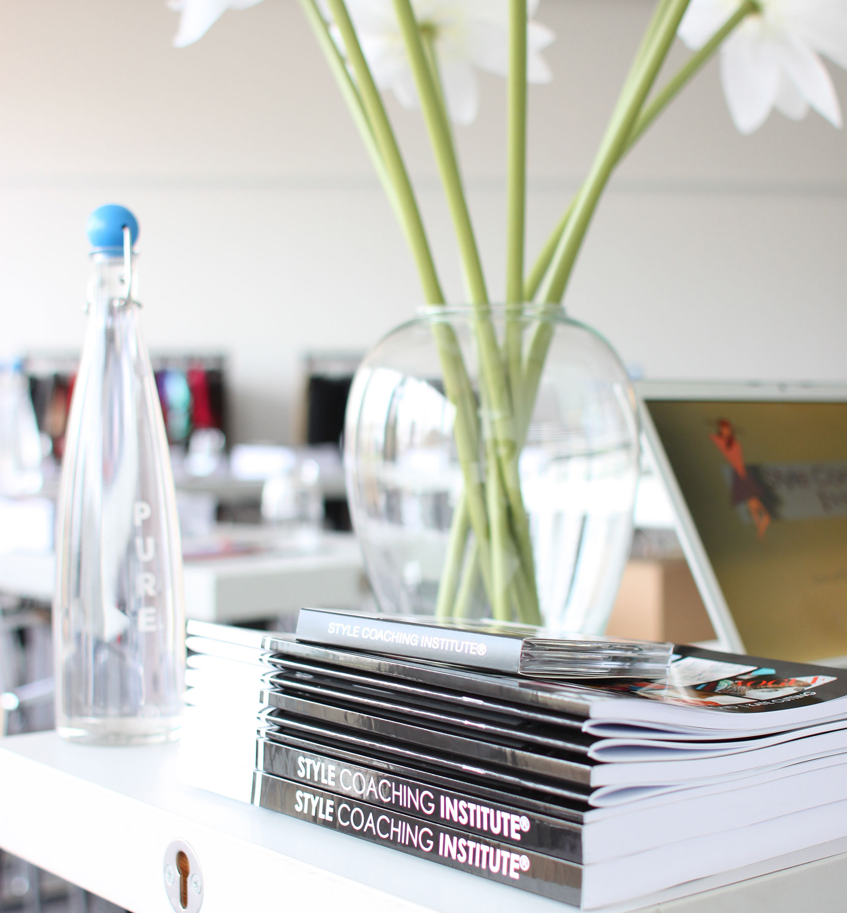 Style Coaching online course books on a desk
