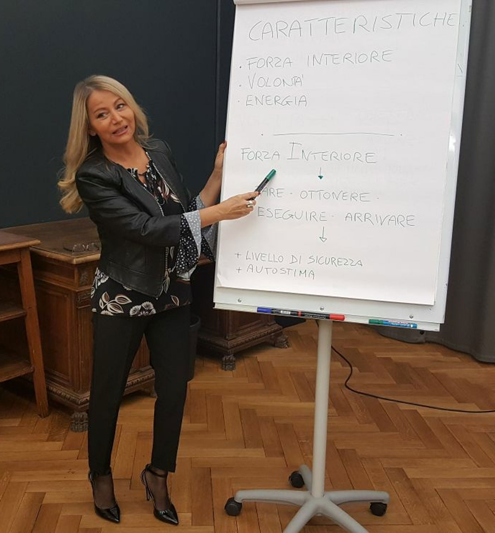Style coaching trainer talking by a white board